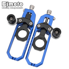 цены Bjmoto For Yamaha MT-10 MT10 2016 2017 YZF R1 2015 2016 Moto CNC Tensioners Catena Rear Axle Spindle Chain Adjuster Blocks Spool