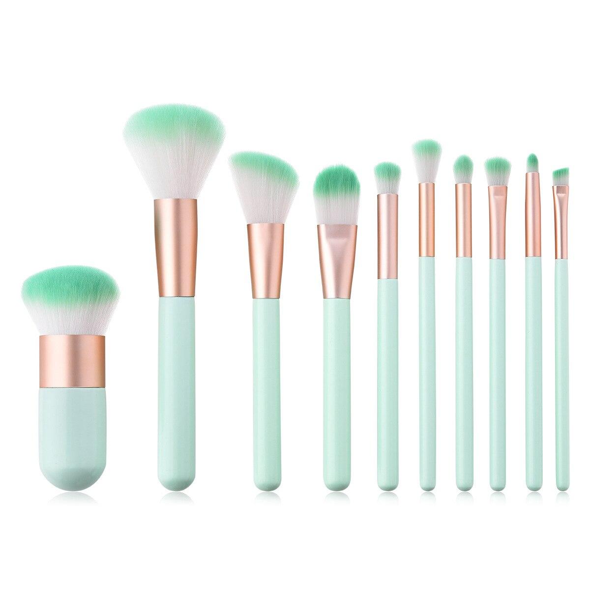 57f1b4ee0 BBL 10 piezas Premium pinceles maquillaje sombra de ojos en polvo cepillo  Blush reales menta verde maquillaje cepillo Kit, Maquiagem profesional