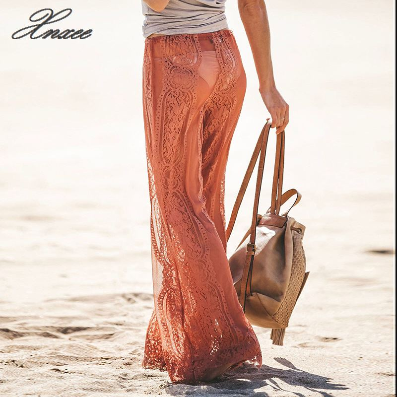 Beach Style Women Lace Bell Bottoms Flare Trousers Mid Waist Wide Leg Long Pants Lace Hollow Out See Through Lace up Pants New in Pants amp Capris from Women 39 s Clothing