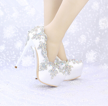 Luxury princess slipper AB rhinestone wedding shoes 8cm 10cm 12cm 14cm high heels platform shoes font