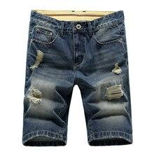 Мужская большой размер отверстия джинсовые шорты Хлопок короткие Джинсы Новые лето Мужчины тонкие удобные короткие джинсы Fshion короткие штаны Размер 28-42