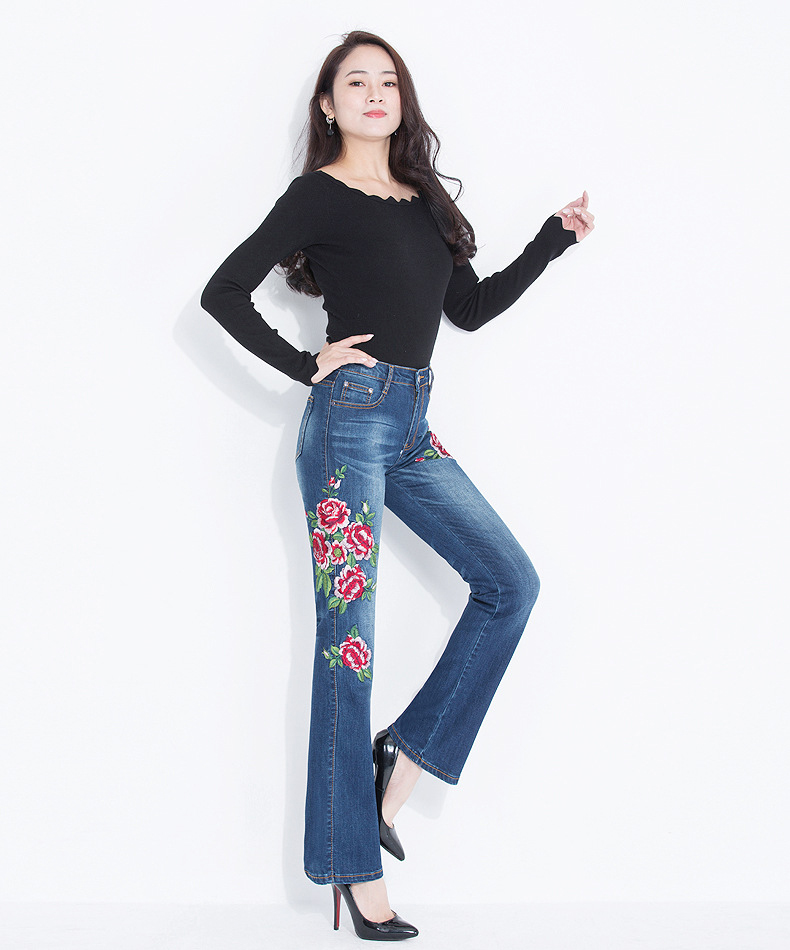 Jeans Women 2018 High Waist Korean Style Flared Jeans Flowers Embroidered Stretch Denim Pants Large