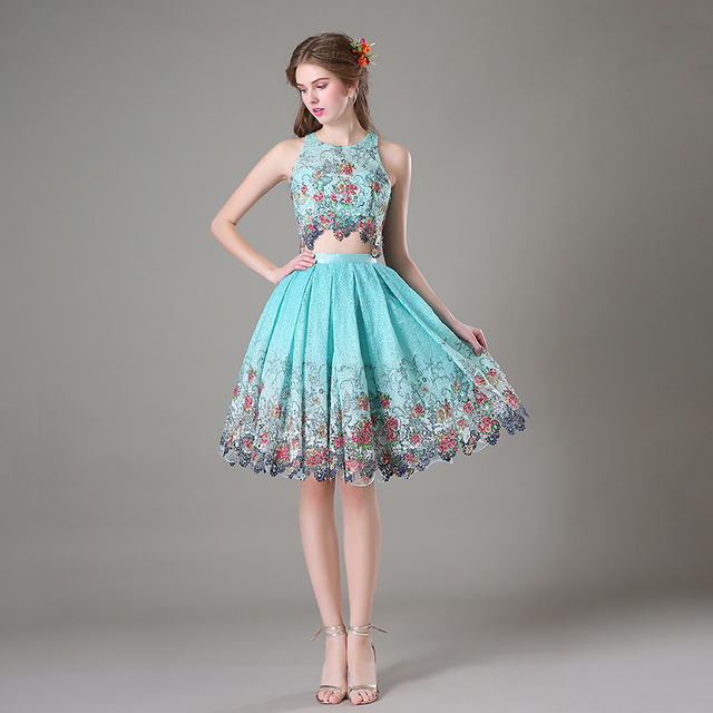 a5118f5b1d5117 Elegant Floral Printed Two Piece Outfit Girls Summer 2 Piece Skirt and Crop  Top Women Formal Wear Prom Gowns For Gradution Party