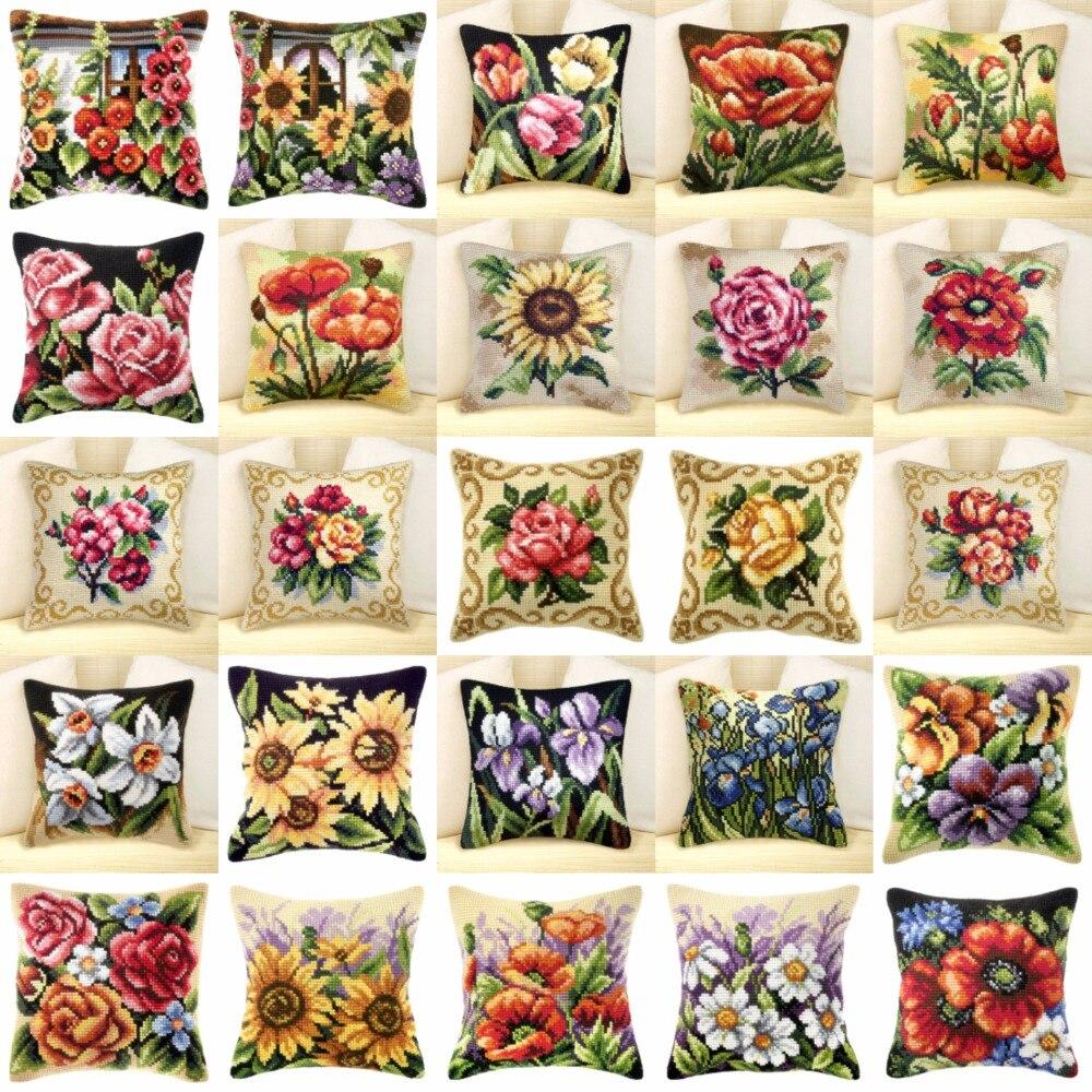 Flower style 02 JCS Crafts Cushion Printed Cross Stitch Kits Tapestry pillow KIT Home Decorative Pillows Needlework cushion