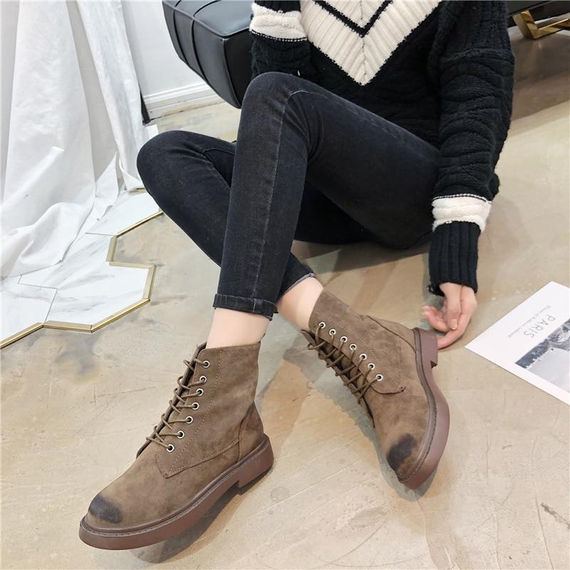 De Martin Plano marrón Fondo Negro 2019 Botas Otoño Invierno Mujer Zapatos Cuero Mujeres Nuevo Yq1qdwa