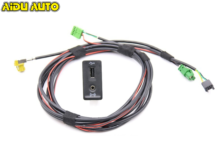 AIDUATO For VW Golf 7 MK7 CarPlay MDI AUX MIB2 PRO USB AMI Install Plug Socket Switch Button Harness 5G0 035 222 E 5G0035222E