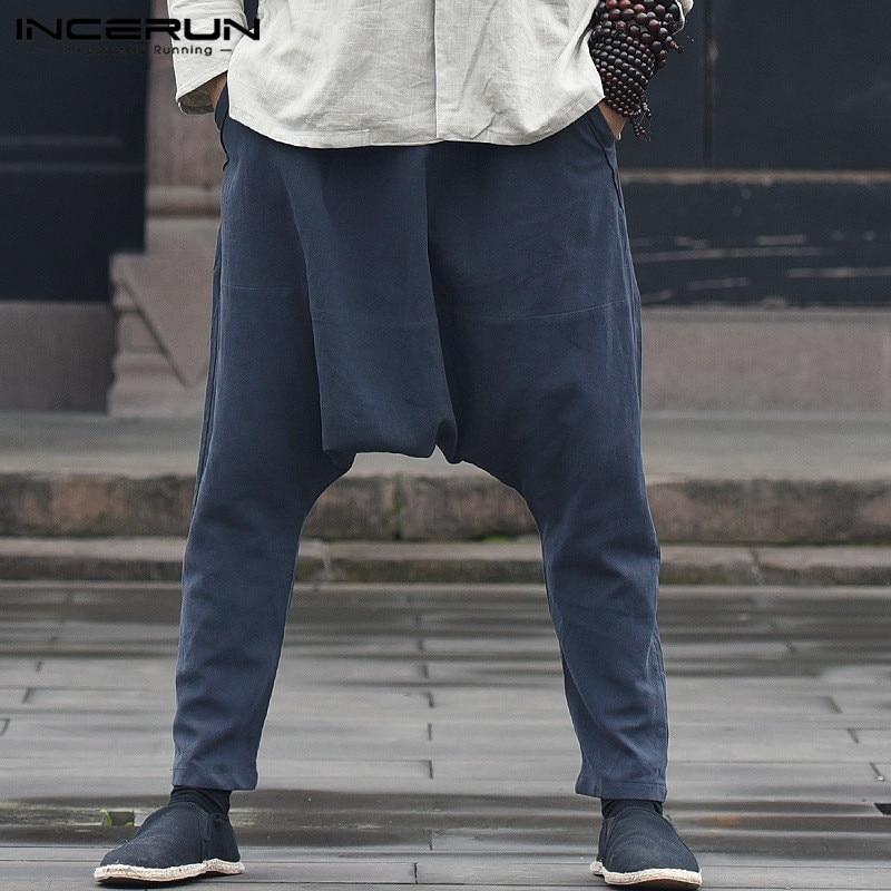 INCERUN 2019 Plus Size Casual Pants Men Solid Drop Crotch Cotton Male Trousers Harem Pants Loose Vintage Hip-hop Pantalon Hombre