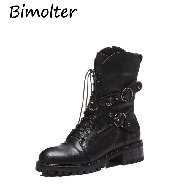 Bimolter Woman Genuine Leather Motorcycle Boots Classic Autumn Zip Ankle Boots for Women Ladies Metal Buckle Matin Boots NA026