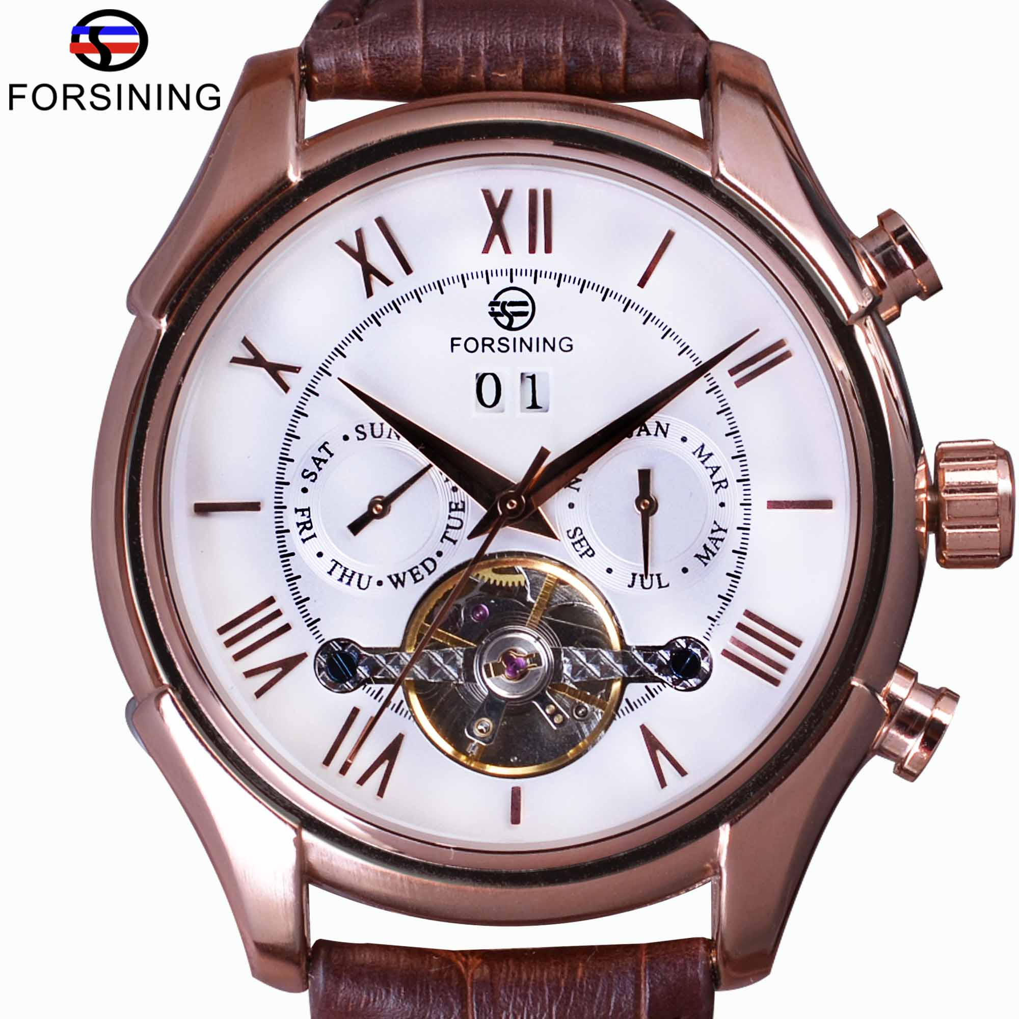 Forsining Royal Classic Rose Gold Case Brown Leather Strap Calendar Tourbillion Men Automatic Watch Top Brand Luxury Wrist Watch forsining navigator series brown leather tourbillion watch blue dial calendar display men automatic watch top brand luxury clock