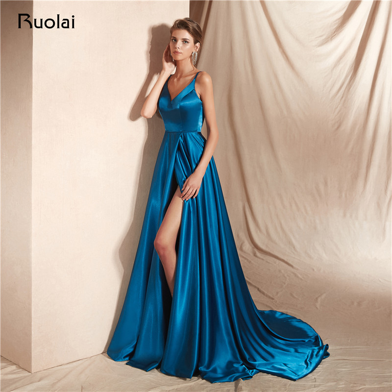 Sexy Evening Dress Long 2019 V Neck A-Line Prom Dress with Slit Spaghetti Straps Formal Party Gown Dress Robe de Soiree SN17(China)