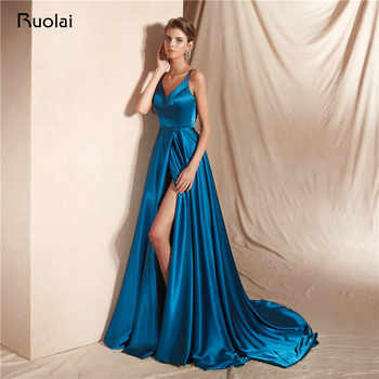 Sexy Evening Dress Long V Neck A-Line Prom Dress 2019 with Slit Spaghetti Straps Formal Party Gown Dress Robe de Soiree SN17 - DISCOUNT ITEM  0% OFF All Category