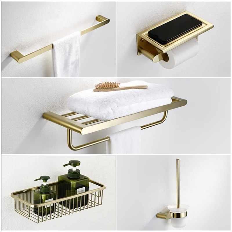 304 SS Pinsel Gold Badezimmer Zubehör Set, Chrome Robe haken, Papier Halter, Handtuch Bar, seife korb, Handtuch Rack bad Hardware set