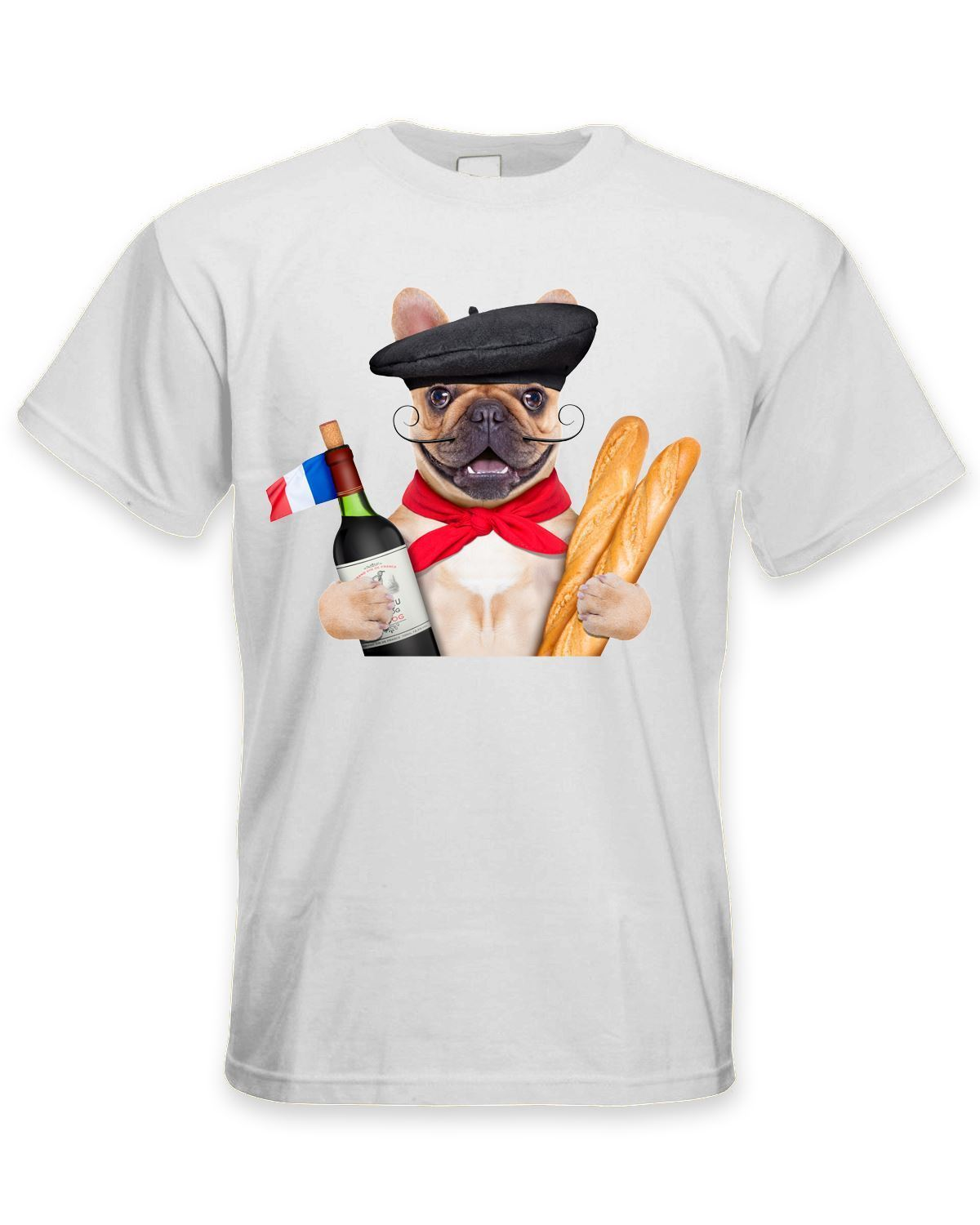 French Bulldog With Wine and Baguette Mens T-Shirt - Funny Pet Bull Dog MenS High Quality Custom Printed Tops Hipster Tees