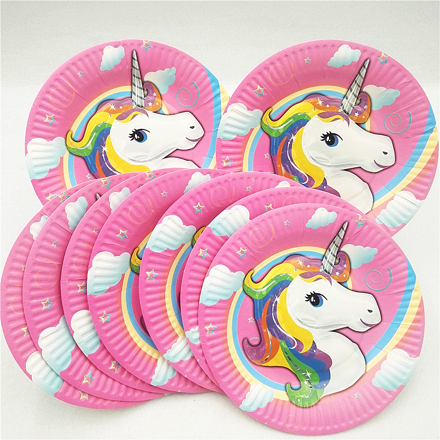 10pc/set kids birthday party supplies unicorn paper plates dishes happy theme decoration tableware baby shower set