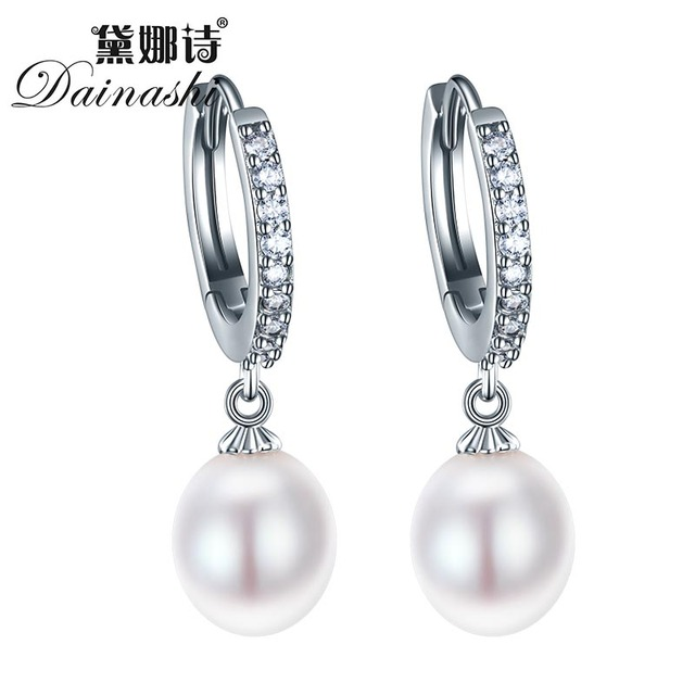 Dainashi Best Quality 100% natural freshwater pearl jewelry 925 sterling silver stud earring for women pendants earrings