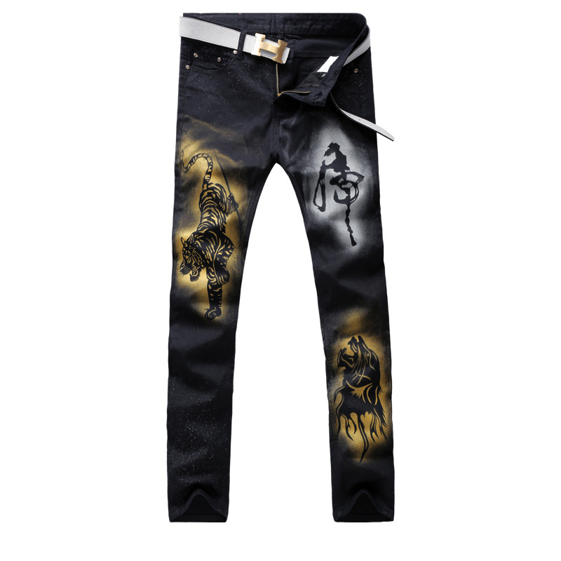 Spring summer black cowboy mens casual pants tiger printing chinese style embroidery male jeans midwaist vintage demin trousers