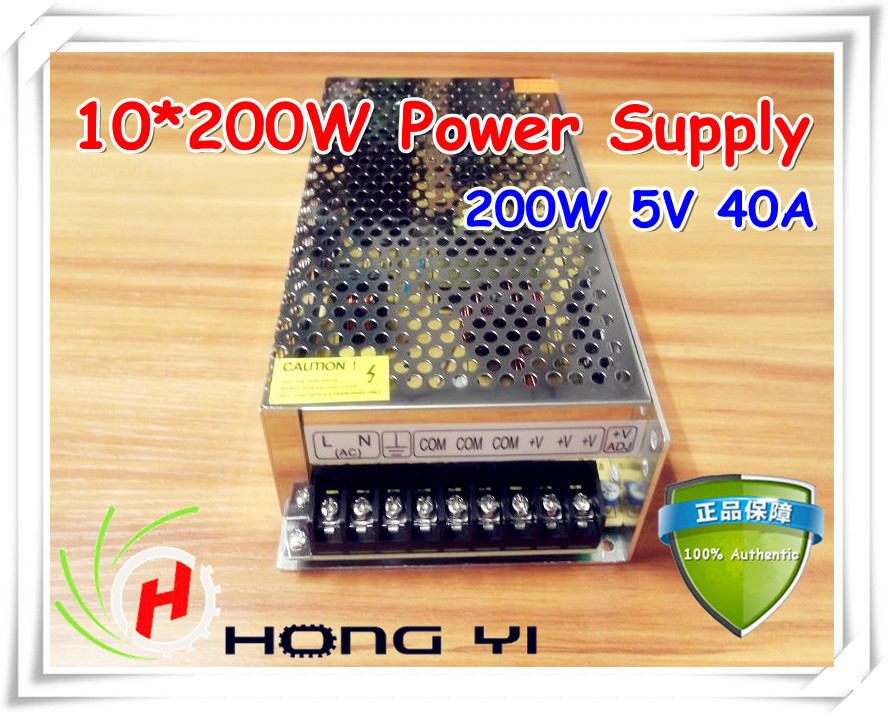 10PCS 200W Power Supply for LED Display (Output 5V40A), Input 220V LED module display hot customised electric guitar lp type purple color bird eye maple fingerboard signature inlay on 12th fret gold parts