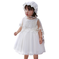 3Pcs/set Baby Girls Princess Baptism Dress Toddler 1 2 Year Birthday Party Christening Ball Gown Newborn Clothes Dress+Hat+Shawl