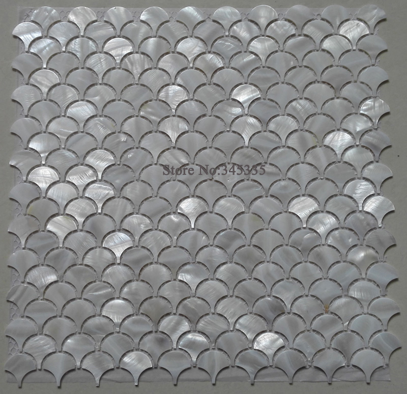 11PCS White Fish Scale Shell Mosaic Tile Mother of Pearl Kitchen Backspalsh Bathroom Shower Wall TV Background Fan Wallpaper