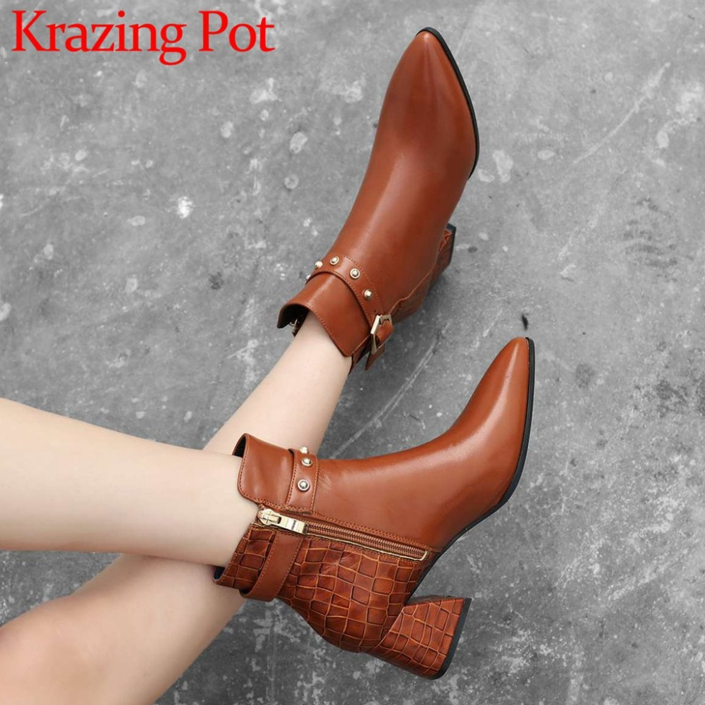 Original design retro chelsea boots zip big size pointed toe thick med heels real cow leather rivets buckle belt casual shoe L87 цена