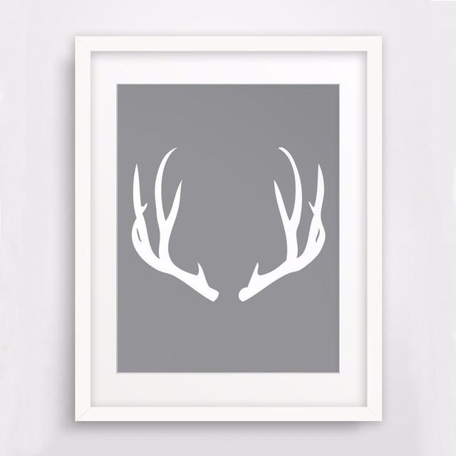 HOT White Deer Antlers Wall Art, Print Art Canvas Poste,Printable ...