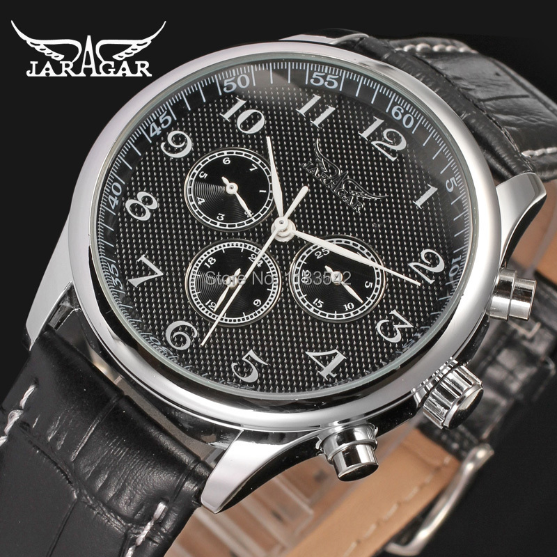 Jargar Automatic  fashion dress watch silver  color with black leather band  free shipping JAG6458M3S2 jargar jag6905m3s1 new men automatic fashion dress watch silver color wristwatch with black leather band free shipping