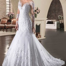 RONGNIUNIU Long Sleeves Mermaid Wedding Dresses Bride Dress