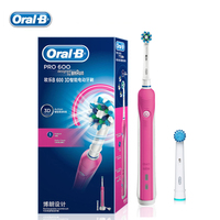 Oral B Electric Toothbrush PRO600 D16 Adult Teeth Whitening Rechargeable 1 Holder 2 Heads Pink Blue