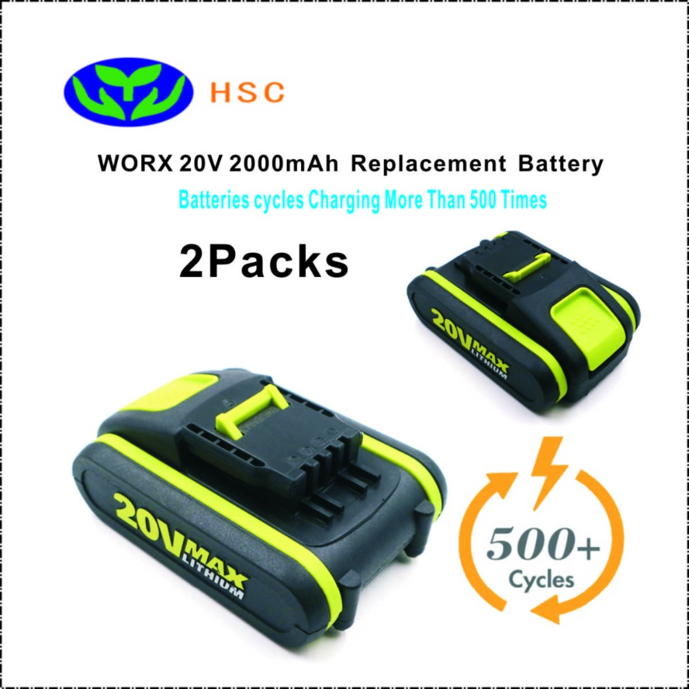 2PCS WOX20A 2000mAh 20V Li ion Battery Replacement WORX WA3551 1 WA3516 WA3520 WA3525 WA3549 1