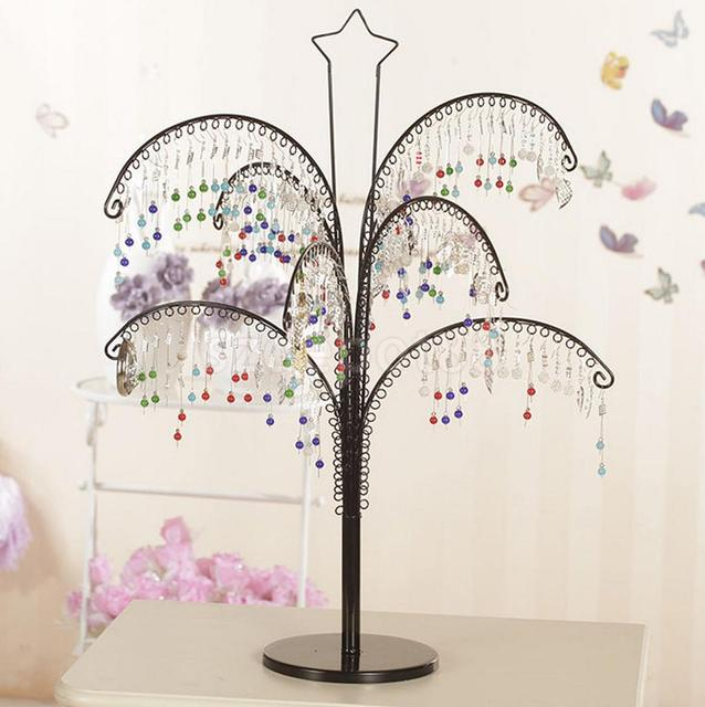 Metal Tree Shape Shop Earring Necklace Jewelry Display Stand Holder