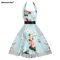 HimanJie Women Plus Size S 4XL Vintage Large Swing Dress Sleeveless Halter Lace Belts Rockabilly Prom