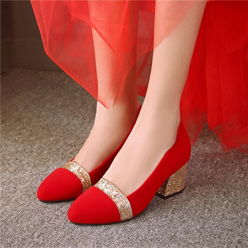 0e9b2ae92e D'honneur 2019 De Chaussures Talons Bling Femme rouge Chunky Gold Demoiselle  32 Partie Dropship Lapolaka Femmes Tailles silver Mariage Pompes 43 Grandes  ...