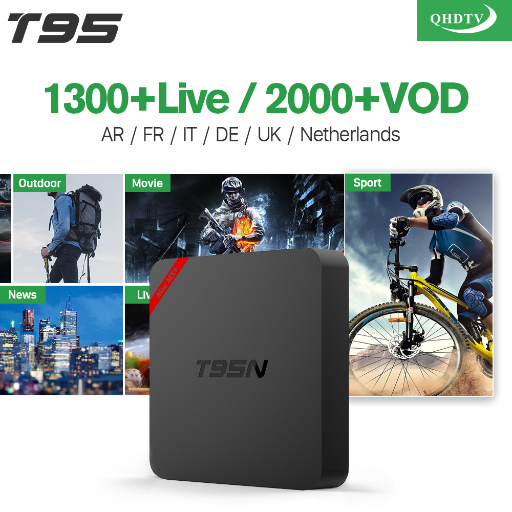 T95N IP ТВ Франции арабский Amlogic S905X 4 ядра Android с QHDTV подписки Франции Бельгии Тюнер для просмотра телеканалов Нидерландов