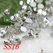 SS16 1440pcs/pack Crystal Clear Flat back Strass Rhinestones Nail Art Non Hot Fix