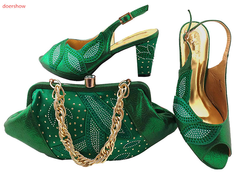doershow Shoes and Bag Set African Sets green Women Shoes and Bag Set In Italy Women Shoes and Bag To Match for Parties LULU1-36 doershow new arrival shoes and bag to match italian summer african style shoes and bag set italy ladies shoes and bag as1 33