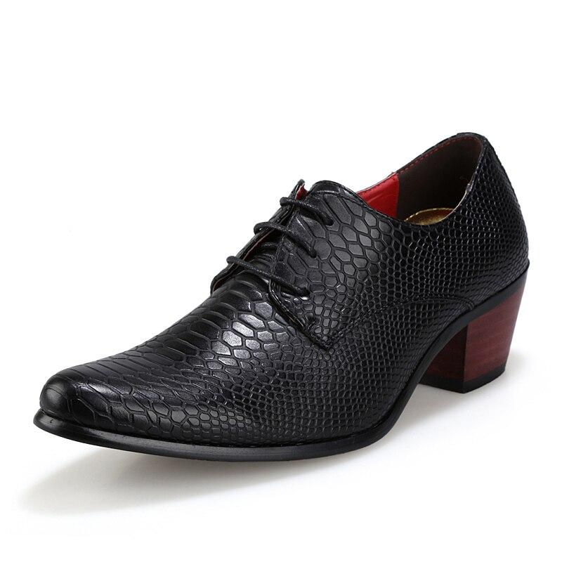 luxury brand  british men's leather shoes fashion man pointe toe high heel casual unique studded crocodile oxford shoes for men lego 60139 город мобильный командный центр