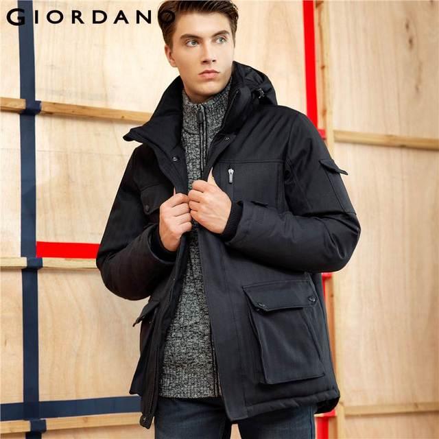 2cb630e1c6 Giordano Men Down Jacket Solid Hooded Warm Jacket Machine Washable Long  Sleeves Coat Pockets Fashion Down Jacket Mens Clothing