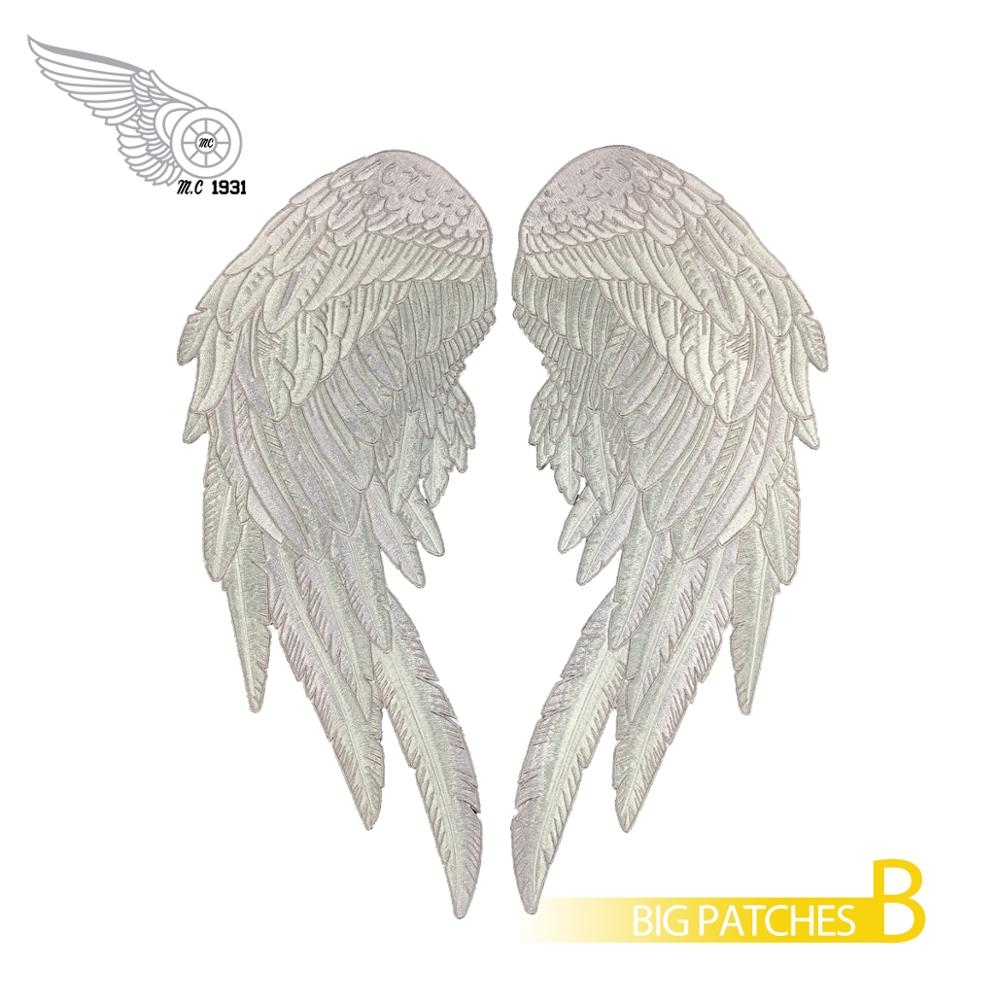 <font><b>Angel</b></font> wings large <font><b>patches</b></font> embroidery iron on motorcycle <font><b>biker</b></font> applique fly sky <font><b>patches</b></font> for jacket 14 inches big custom stickers image