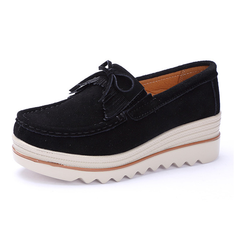 2018 spring women flat platform shoes casual sneakers tassel on dress   leather     suede   slip on shoes creepers moccasins
