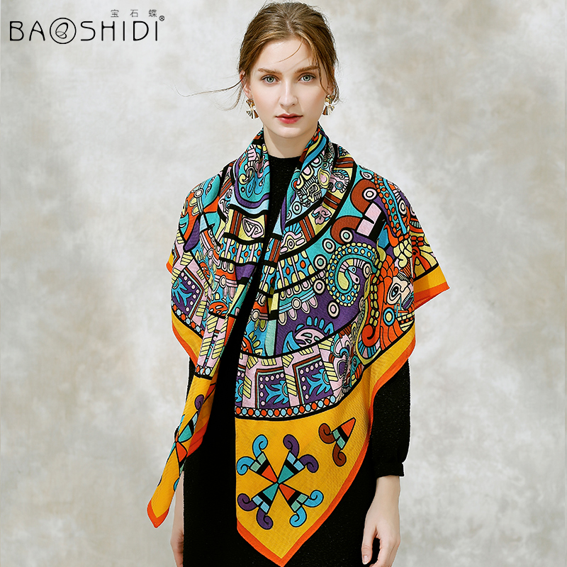 BAOSHIDI 2017 Fashion Brand 100 Wool Winter scarves women Warm Soft Elegant lady square infinity