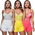 Mujeres Sexy Monos de Los Mamelucos Ocasionales Más Tamaño Sin Respaldo Correa de Espagueti V cuello de Bodycon Verano 2016 Nueva Playsuit para el Club