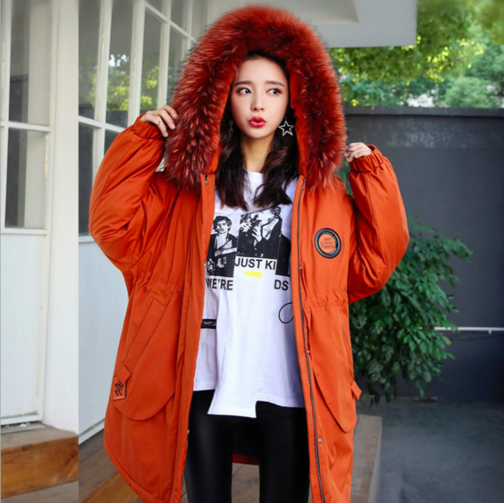 Newest Plus Size 2XL~5XL Women Parka Duck Down Jacket Nature Racoon Dog Fur Hood 2017 Winter Female Loose Big Casual Thick Coats