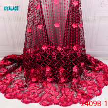 Африканская кружевная ткань высокого качества Кружева 3D Цветы Tullle кружевная ткань французская кружевная ткань с бусинами для бисер YA2409B-1