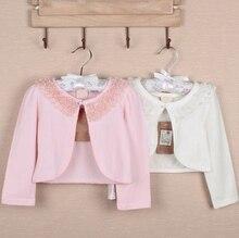 1-10Years Toddler Baby Girl Pink Ivory Long Sleeve Lace Bolero Wedding Birthday Party Jacket Formal Soft Coat Kids Cape Clothing