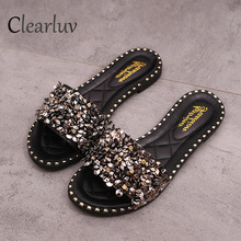 купить women's flat sandals Women Fashion Sequins Round Toe Flat Heel Sandals Slipper Beach Shoes  woman summer 35-39 C0783 по цене 857.29 рублей