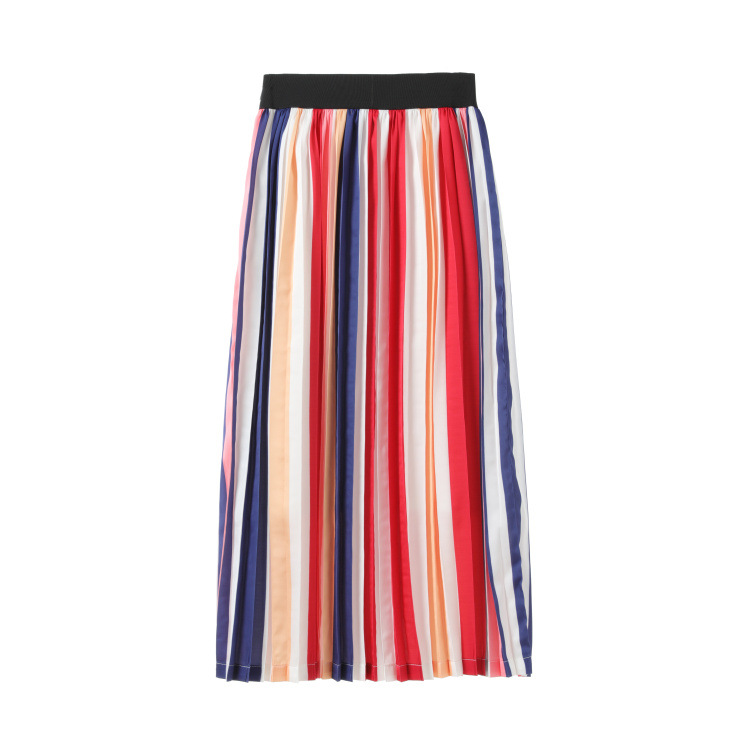 2019 New Color 100-fold Mid-length and Mid-skirt Empire Mid-Calf Pleated Striped Fashion Skirts Women
