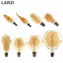 LARZI LED Filament Bulb C35 ST64 G80 G95 G125 Spiral Light 220V 4W Retro Vintage Lamps Decorative Lighting Dimmable Edison Lamp