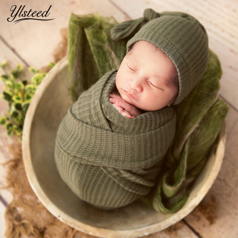 Ylsteed Newborn Photography Wraps Baby Hat and Wrap Set ...