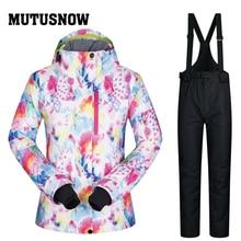Лыжный костюм женский бренд 2018 Новый высокое качество снег сноуборд куртки брюки теплый водостойкий ветрозащитный зимний комплект куртка Momen лыжный
