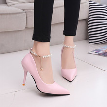 Summer Women Sandals Dress Shoes High Heels String Bead Wedding Pointed Toe Pumps